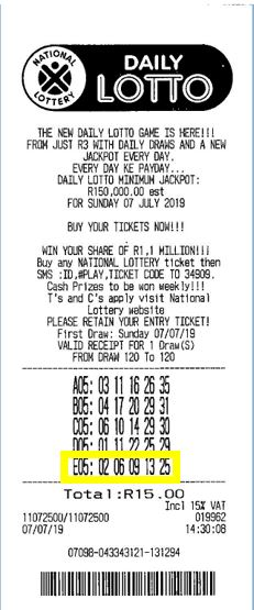 ticket gagnant daily lotto Afrique du Sud